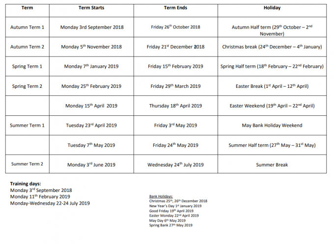 UTC Leeds Term Dates